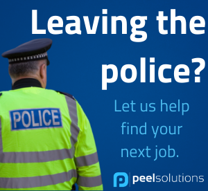 """image of a police man with the wording """"leaving the police? let us help find your next job"""""""